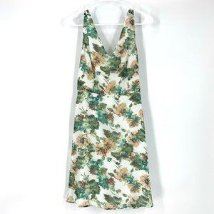 Forever 21 White Green Floral V Neck Mini Dress